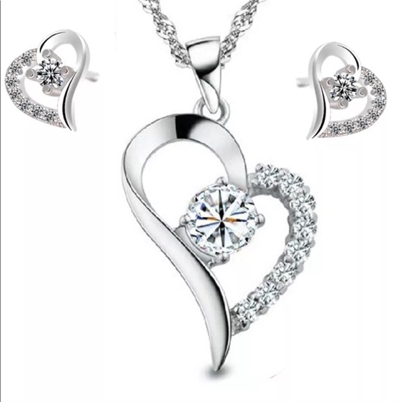 925 Silver Crystal Heart Pendant Necklace&Earrings